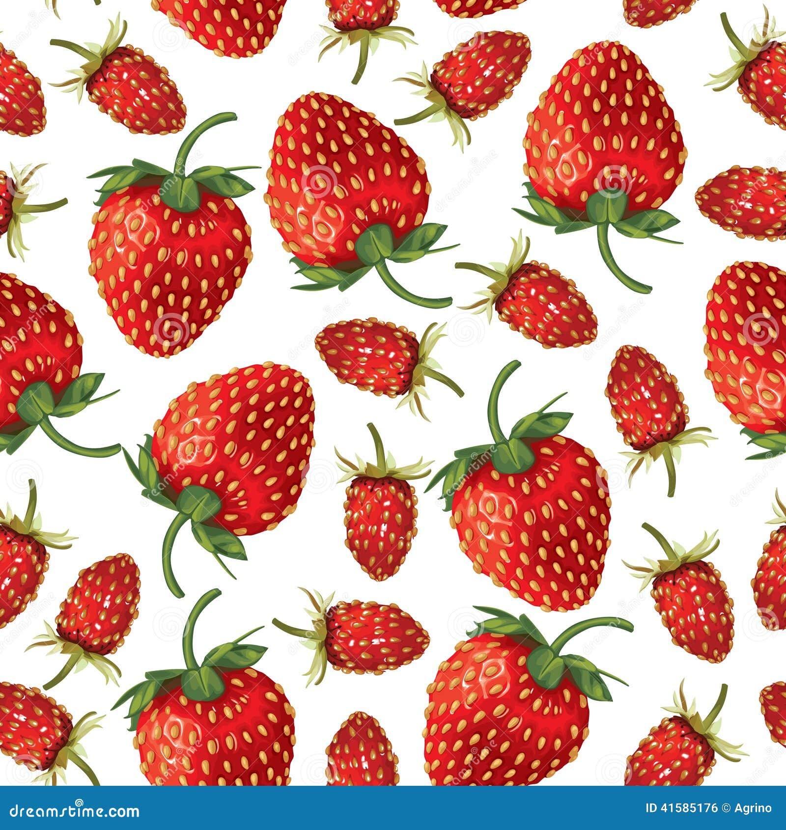 Wilde aardbeien en naadloos aardbeienpatroon