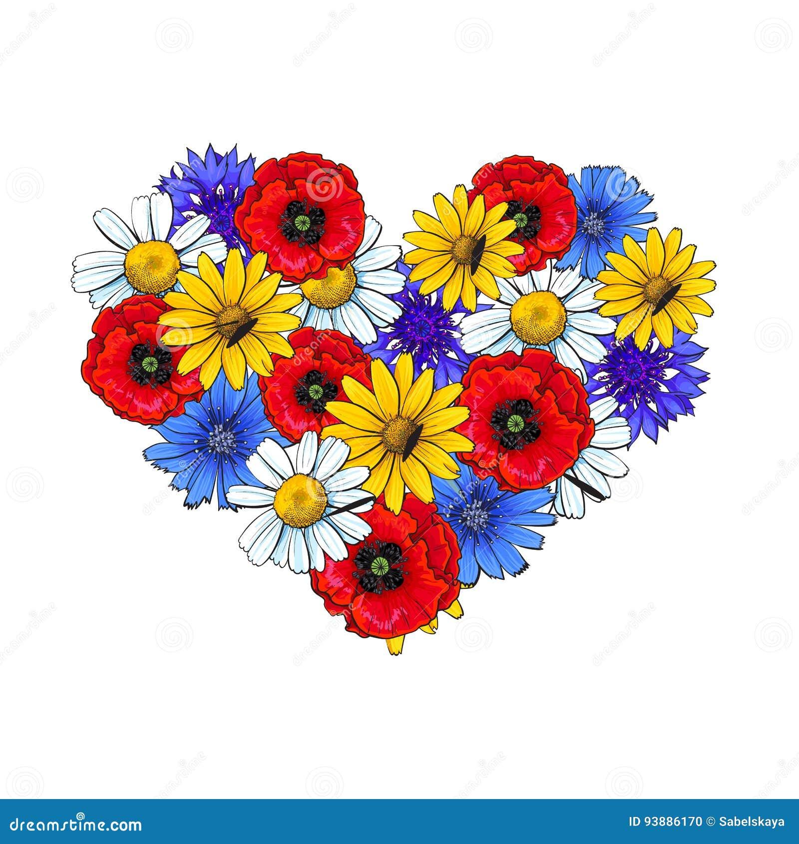 Wilde bloemen - papaver, kamille, korenbloem, madeliefje, hart gestalte gegeven decoratieelement