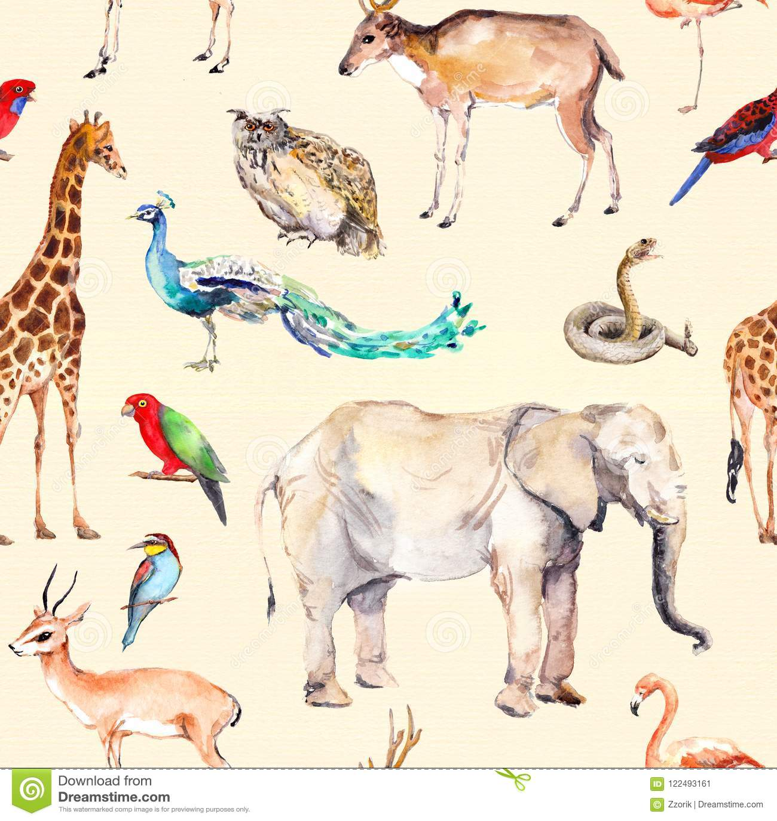 Wilde dieren en vogels - dierentuin, het wild - antilope, slang, herten, flamingo, andere Het herhalen van patroon watercolor