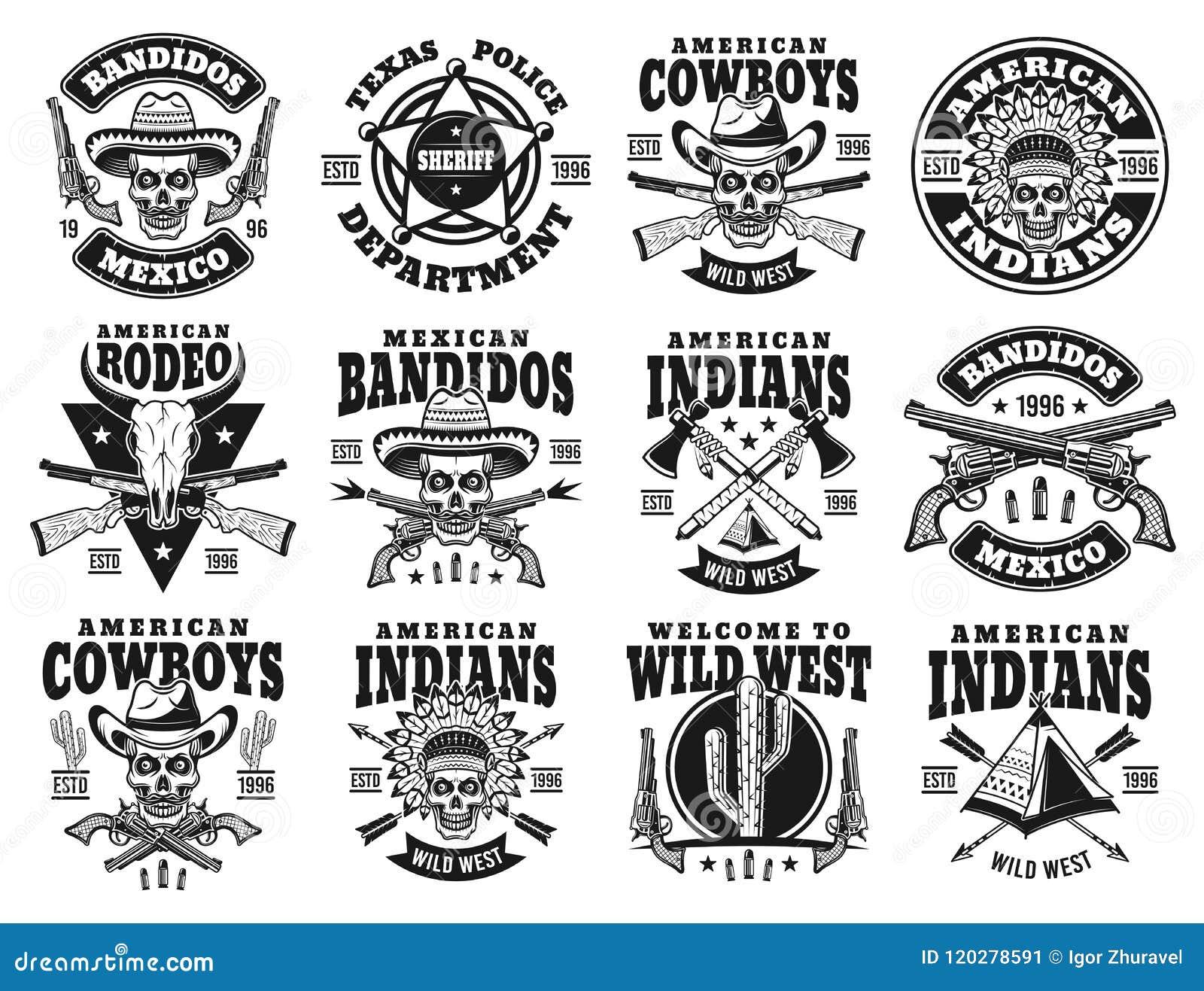 Wilde het westenreeks vectoremblemen, etiketten, kentekens
