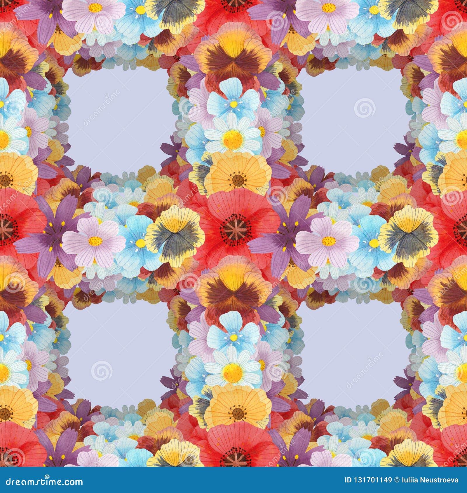 Wilde naadloze het patroon vastgestelde illustratie van de bloemenwaterverf