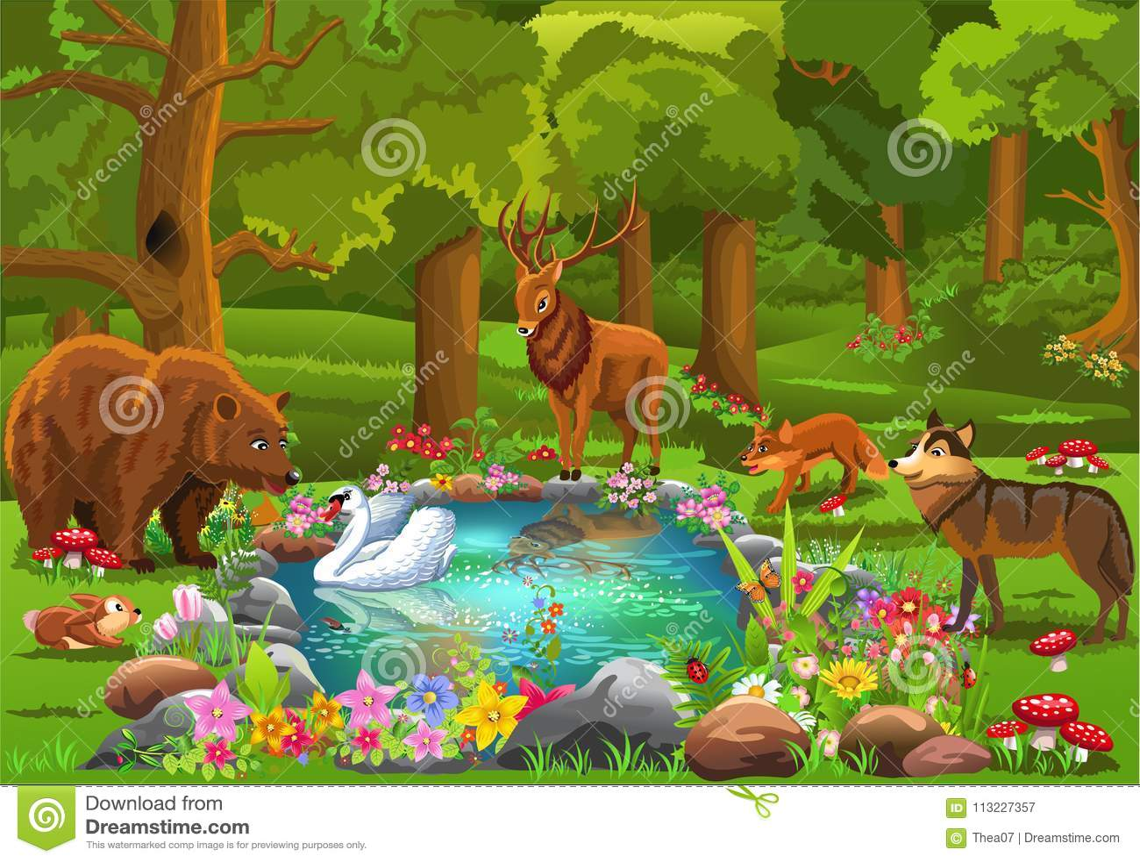 Wilde Tiere, die zum Waldteich umgeben durch Blumen in einer Märchenatmosphäre kommen