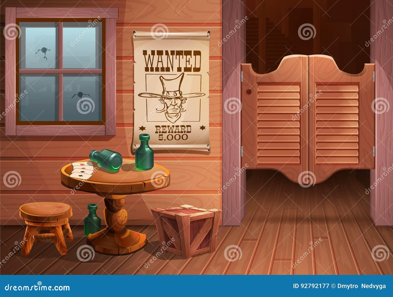 Wilde Westhintergrundszene - Tür des Saals, Tabelle mit Stuhl und Plakat mit Cowboy stellen gegenüber und die Aufschrift wird gew