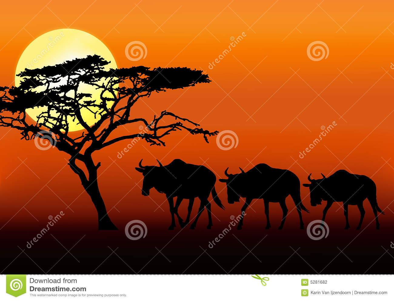 Wildebeests in sunset