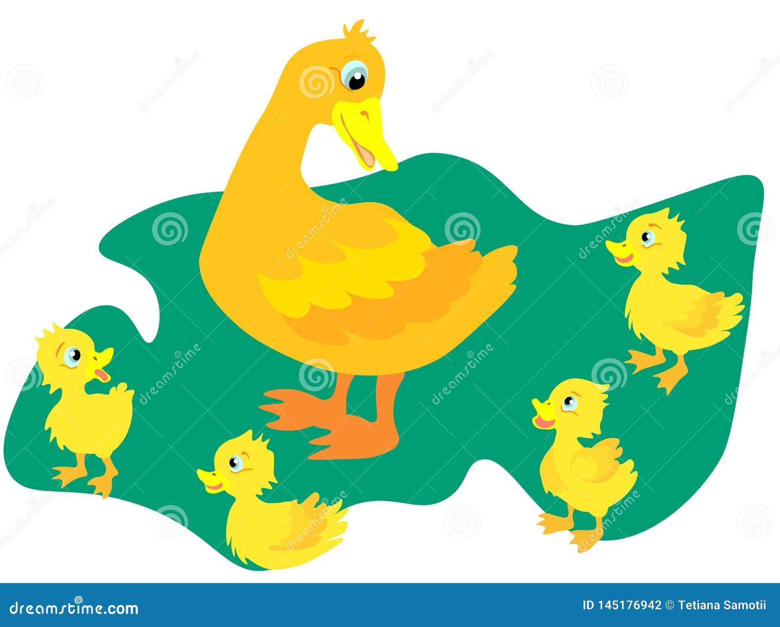 Wildente des Netzes A mit kleinen Enten geht zum Teich Eine Ente mit kleinen Entlein schwimmt auf dem Wasser Soldat mit einer Gew
