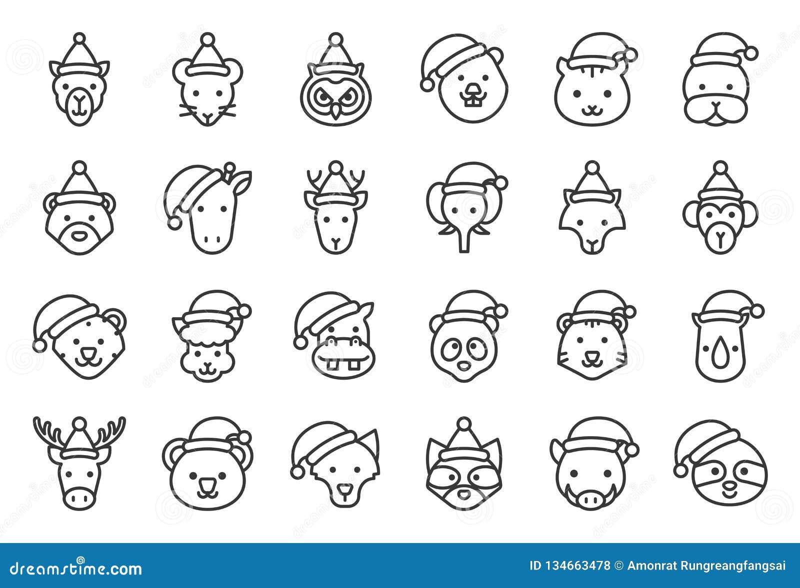 Wilder und der Waldtragender Weihnachtshut-Ikone editable Tierentwurf