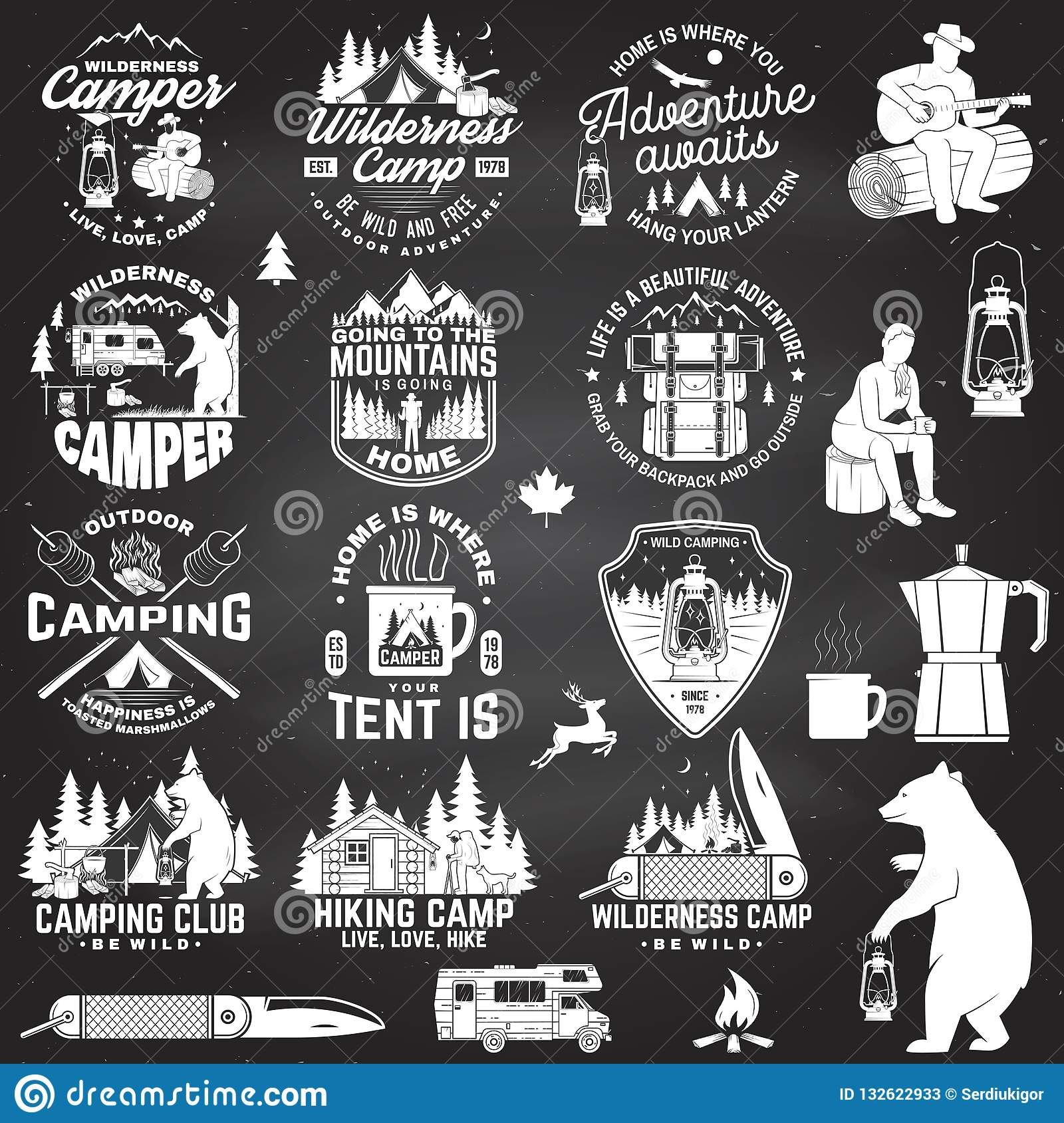 Wilderness camp. Be wild and free. Vector. Concept for badge, shirt or logo, print, stamp, patch. Vintage typography