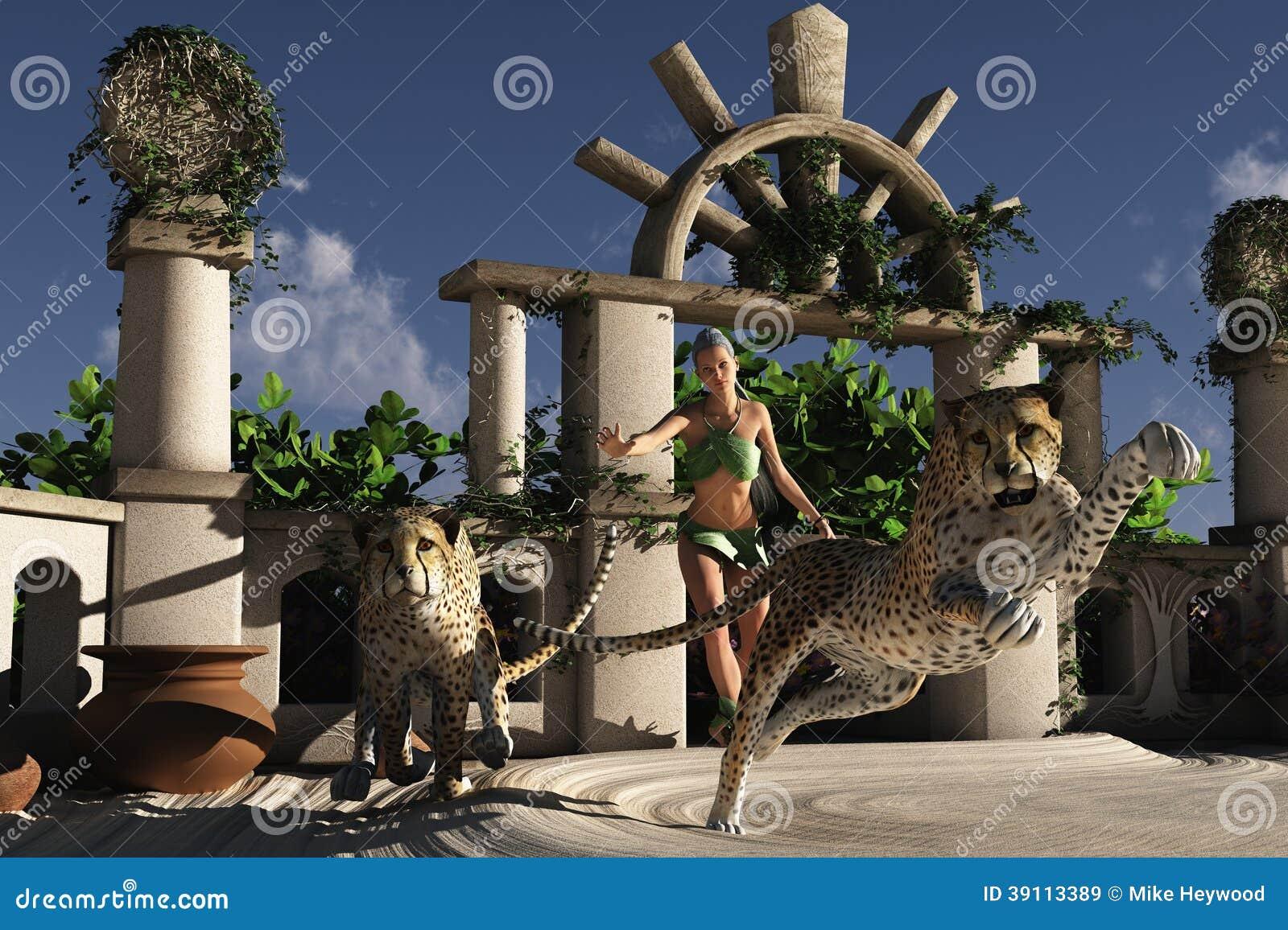 Wildernismeisje met jachtluipaarden