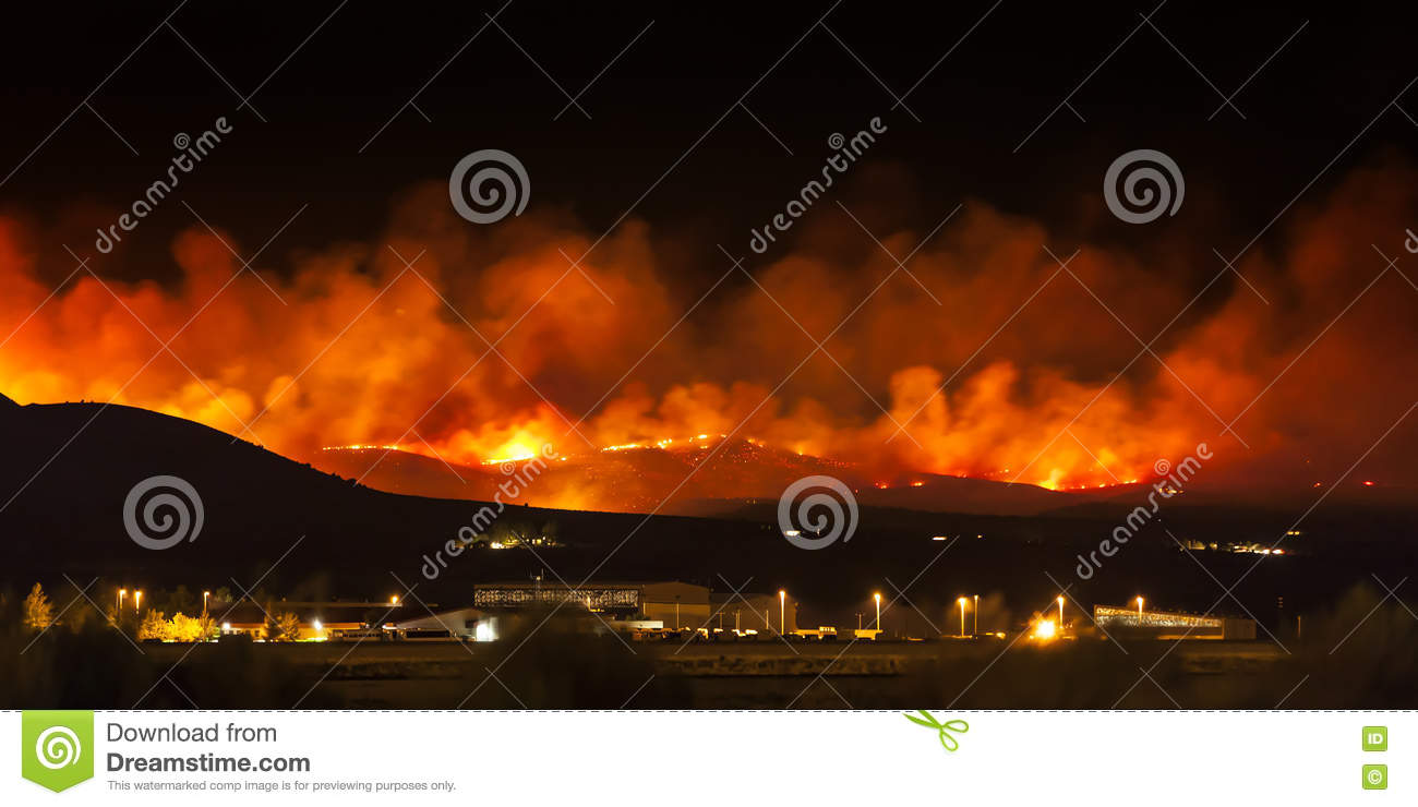 Wildfire in Nevada desert, on Red Rock Road