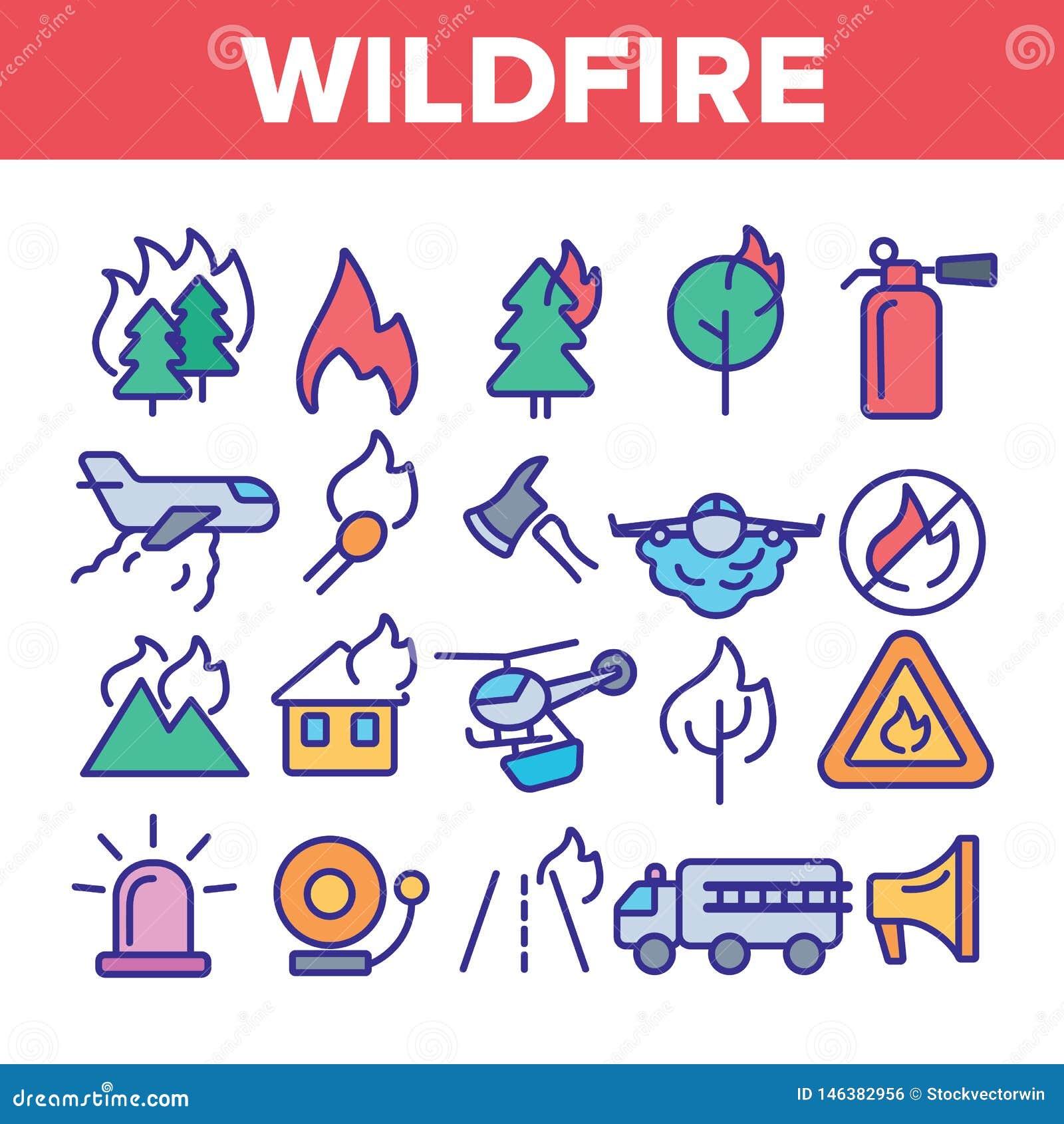Wildfire, Vector Dunne Geplaatste de Lijnpictogrammen van Bushfire