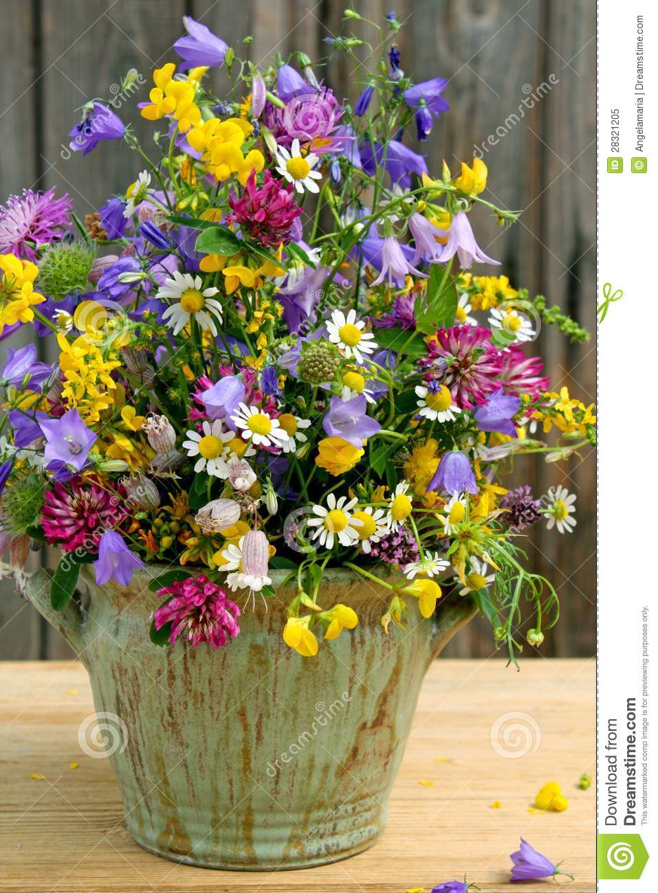 Wildflower Arrangement Stock Image Image Of Wooden