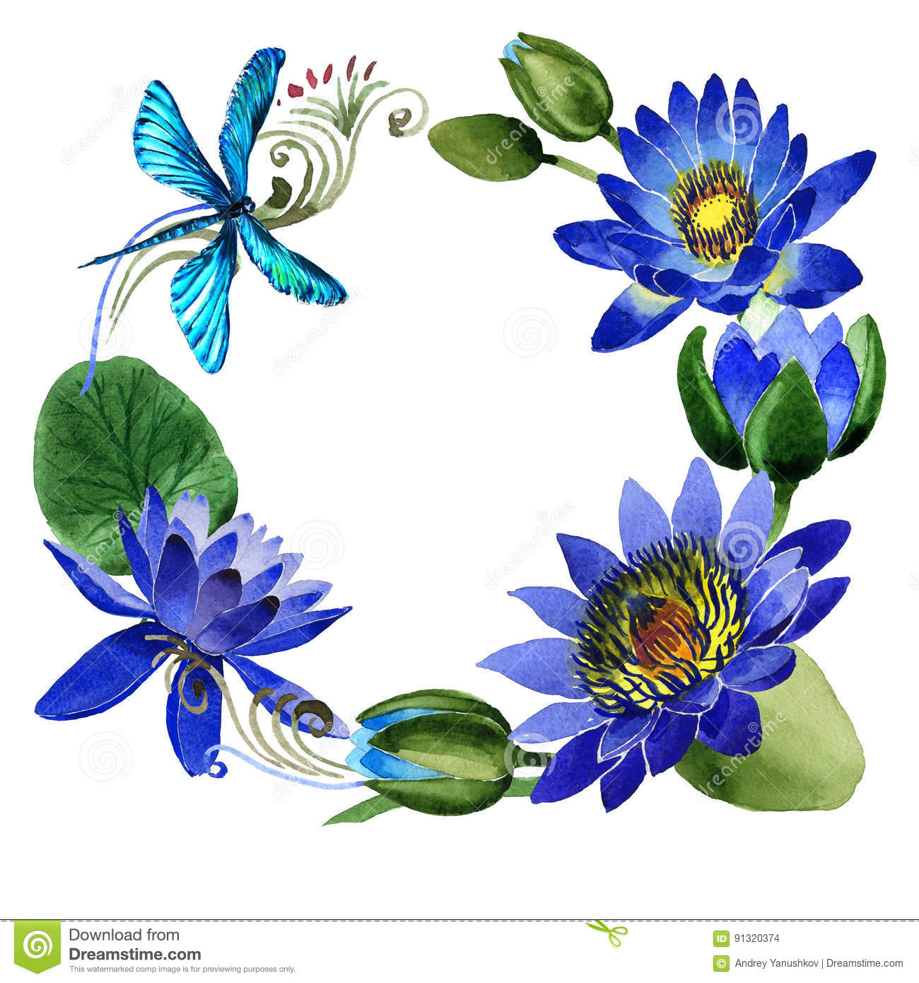 Wildflower blue lotus flower frame in a watercolor style isolated download wildflower blue lotus flower frame in a watercolor style isolated stock illustration illustration izmirmasajfo