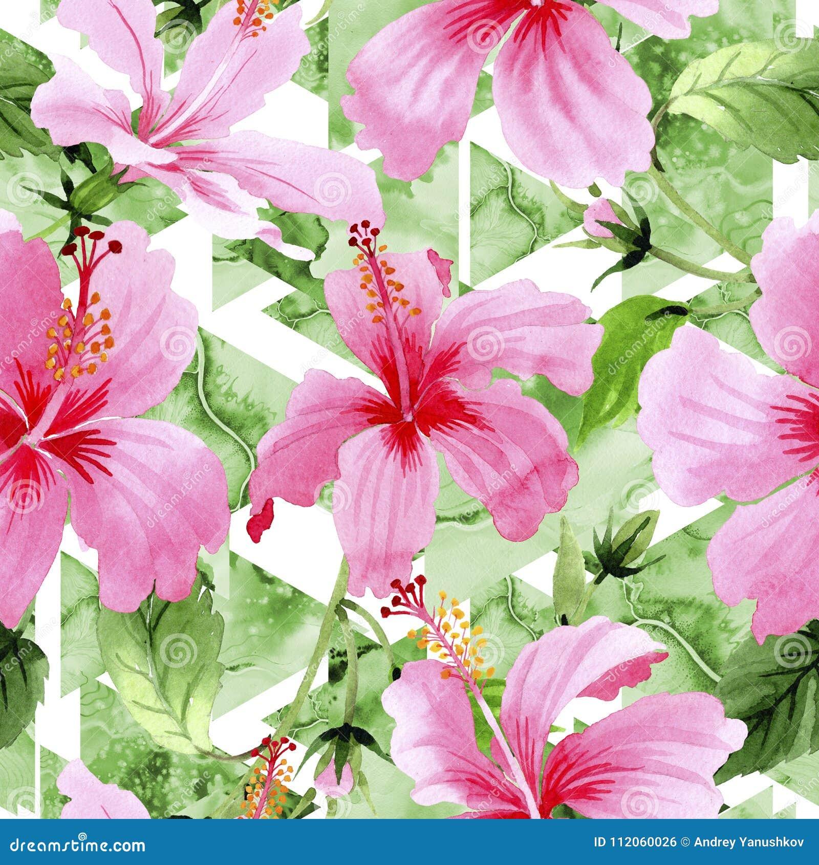 Wildflower hibiscus pink flower pattern in a watercolor style stock wildflower hibiscus pink flower pattern in a watercolor style full name of the plant hibiscus aquarelle wild flower for background texture izmirmasajfo