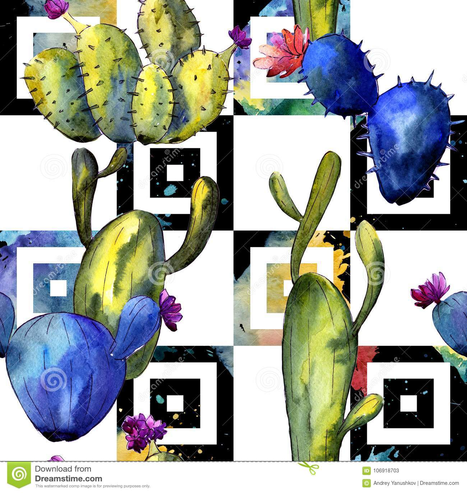 Wildflower kaktusa wzór w akwarela stylu