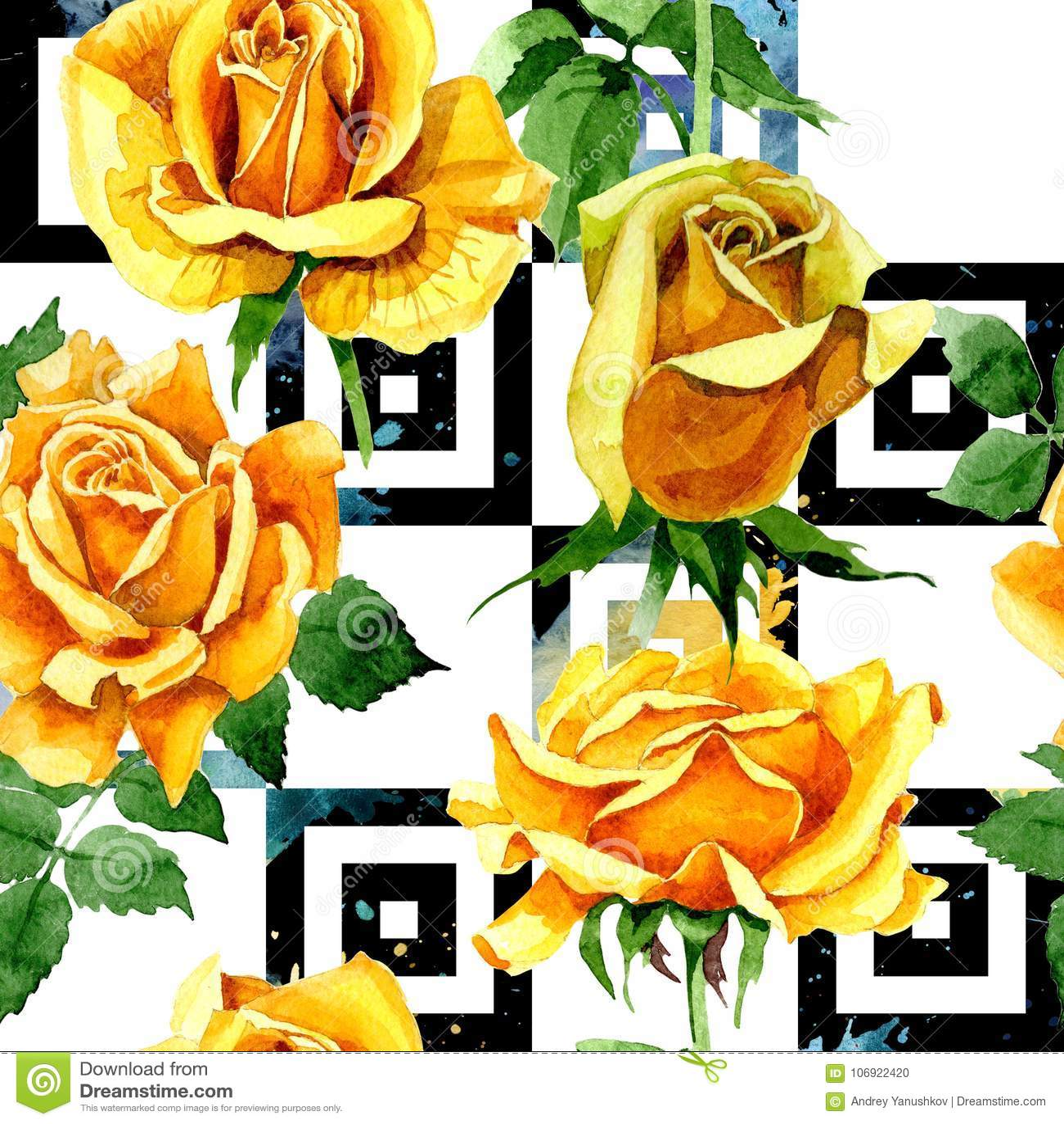 Wildflower kwiatu różany wzór w akwarela stylu