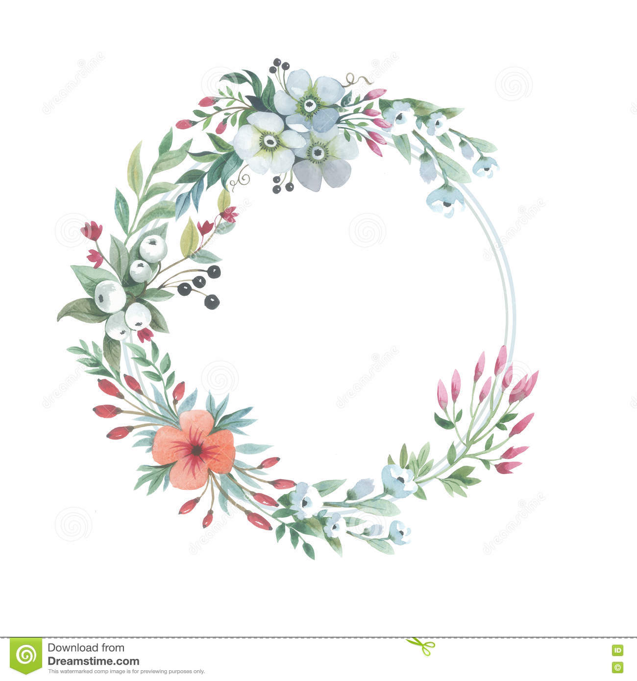 Wildflower lily flower wreath in a watercolor style isolated flower isolated lilium lily dhlflorist Images