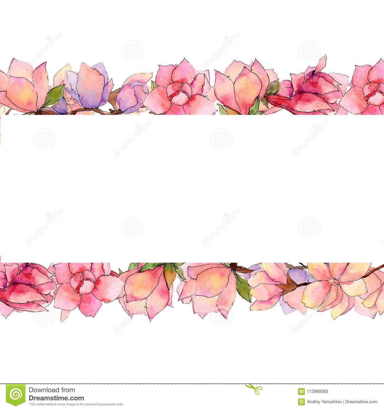 Wildflower magnolia flower frame in a watercolor style.
