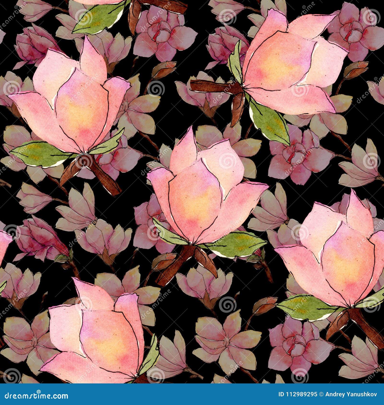 Wildflower magnolia flower pattern in a watercolor style.