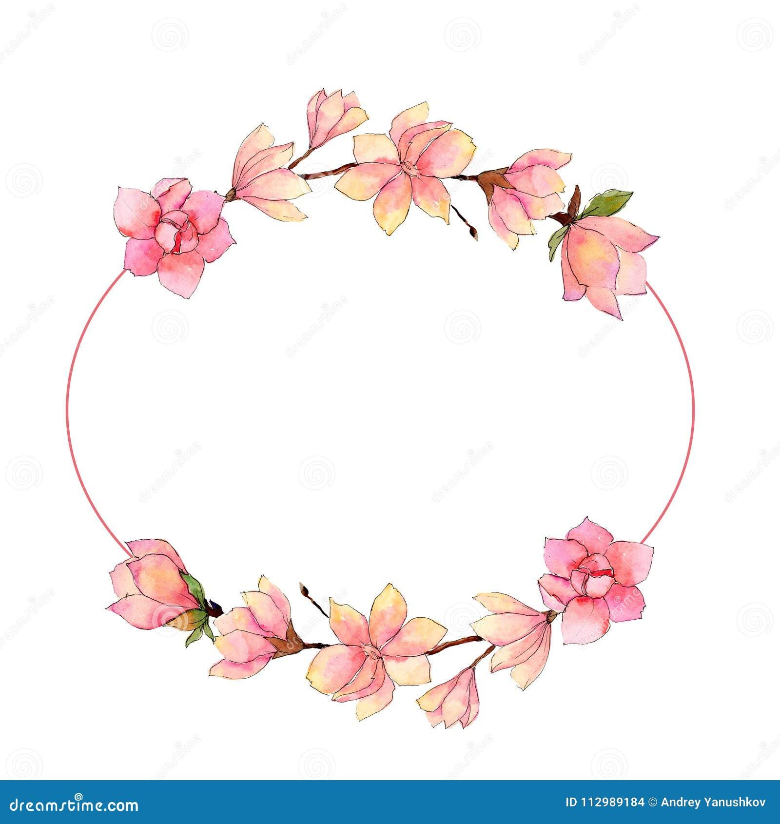 Wildflower magnolia flower wreath in a watercolor style.
