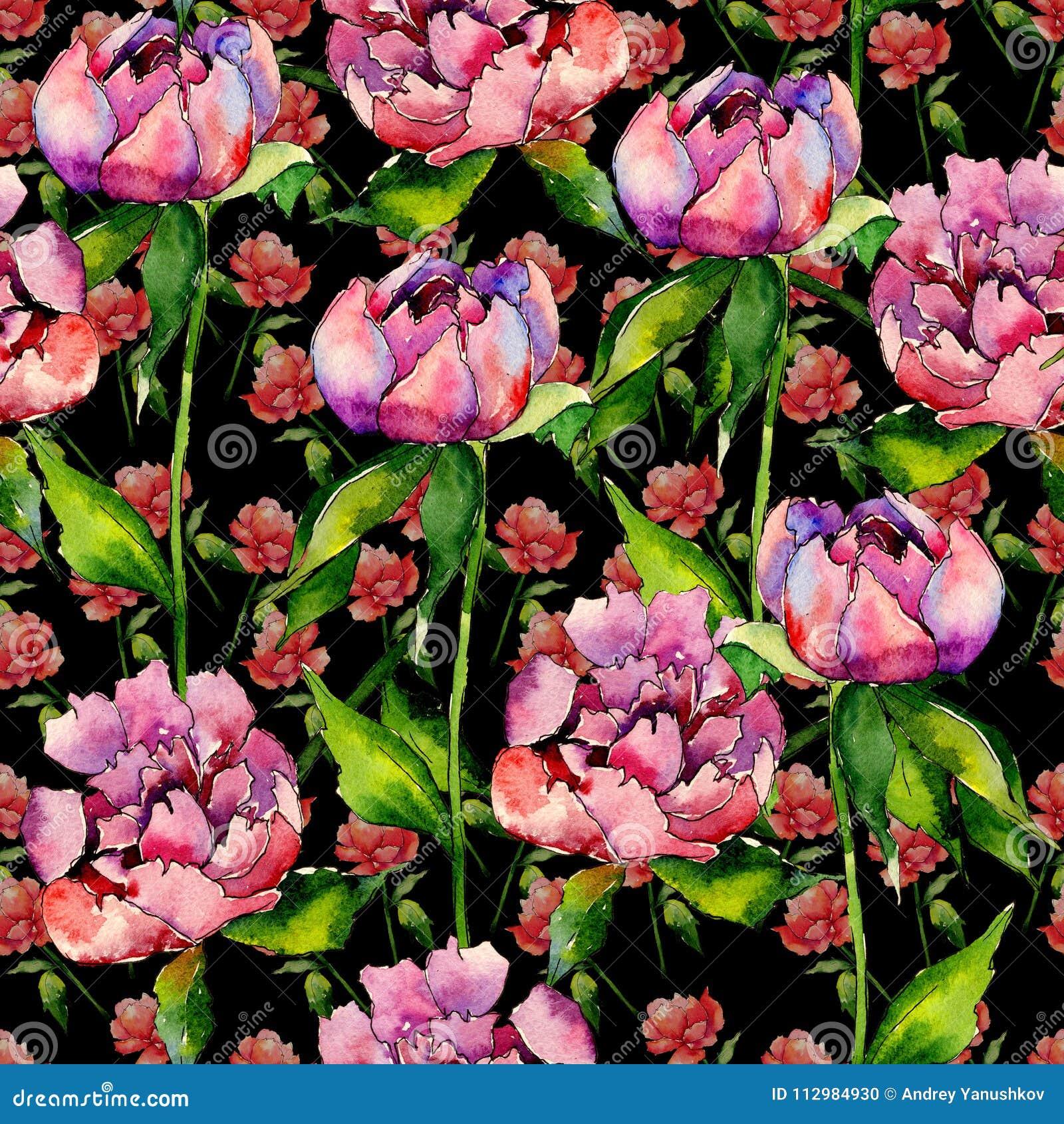Wildflower peony flower pattern in a watercolor style.