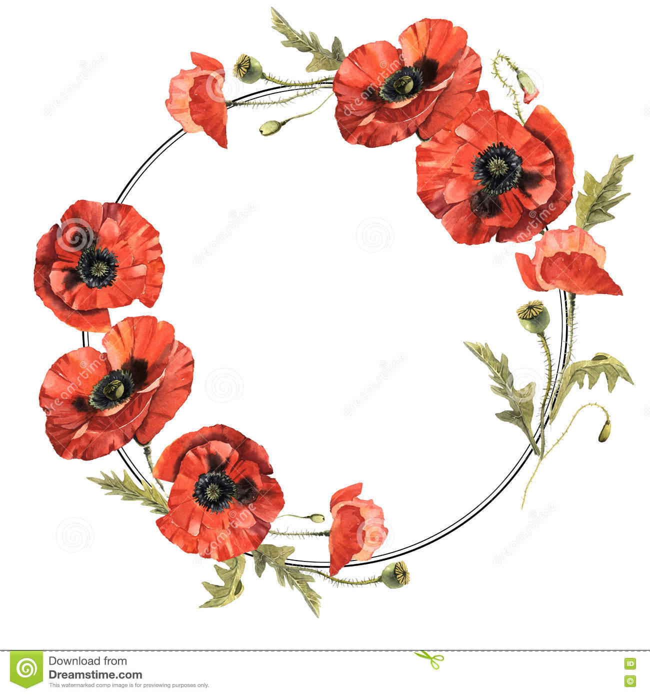 Wildflower poppy flower wreath in a watercolor style isolated stock download comp mightylinksfo