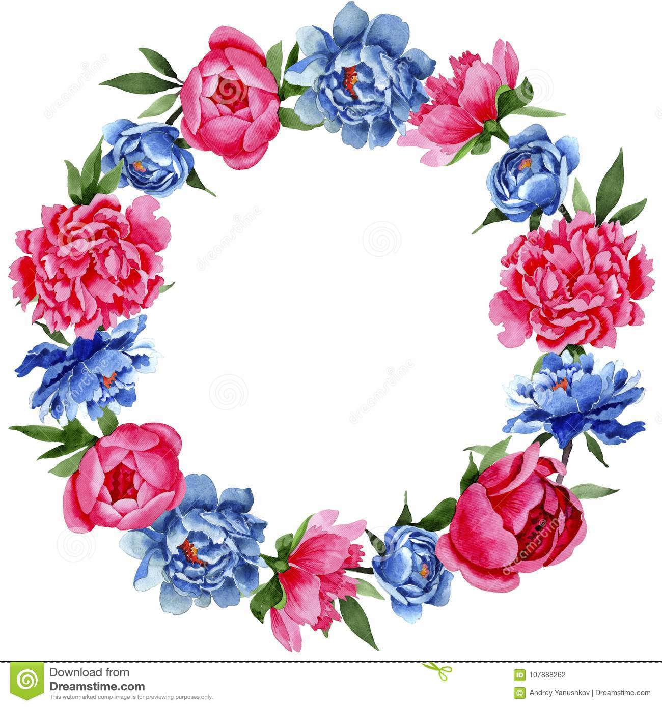 Wildflower Red And Blue Peonies Flowers Wreath In A Watercolor Style Stock Illustration Illustration Of Sprout Natural 107888262