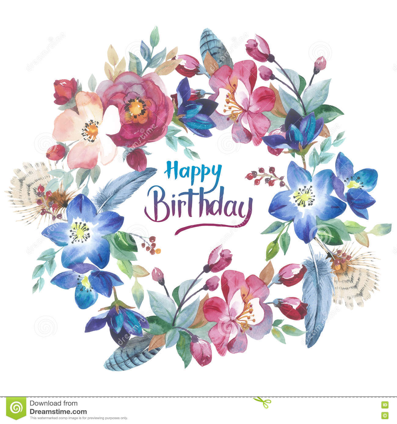 Happy birthday boho style stock illustrations 71 happy birthday wildflower rose flower wreath in a watercolor style isolated full name of the plant izmirmasajfo Image collections