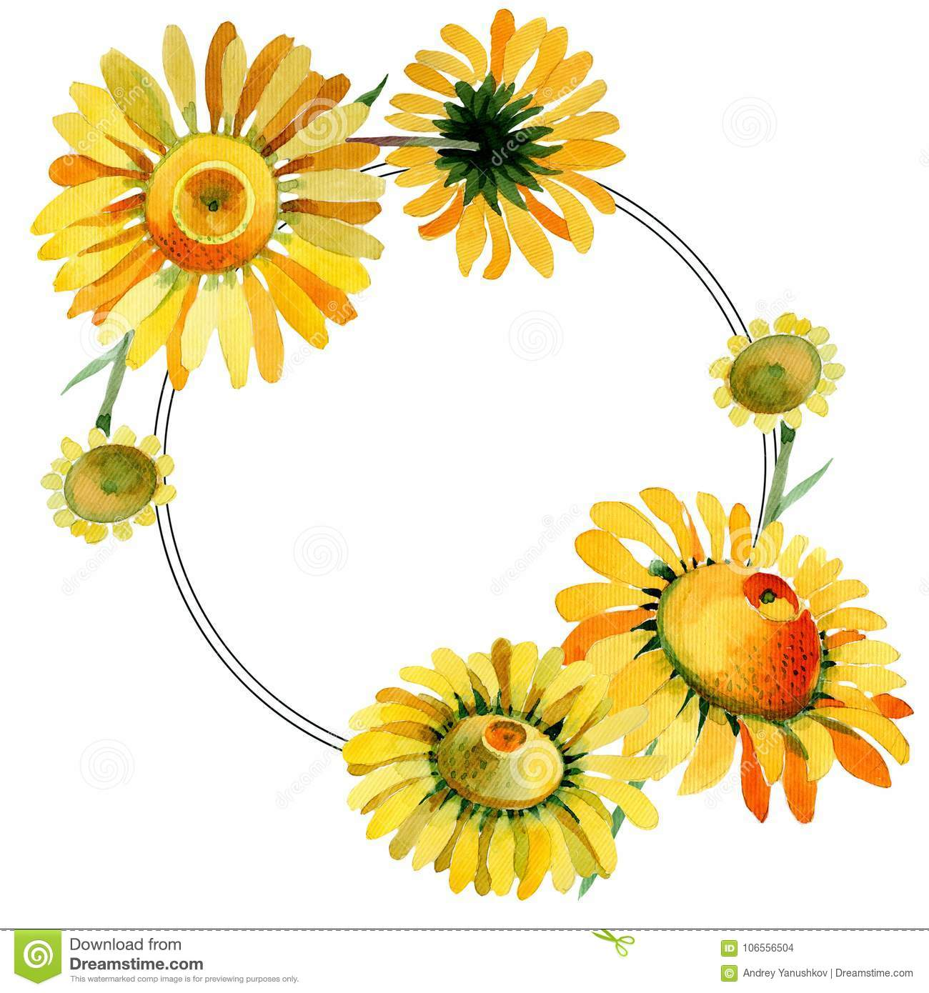 Wildflower Yellow Chamomile Flower Wreath In A Watercolor Style