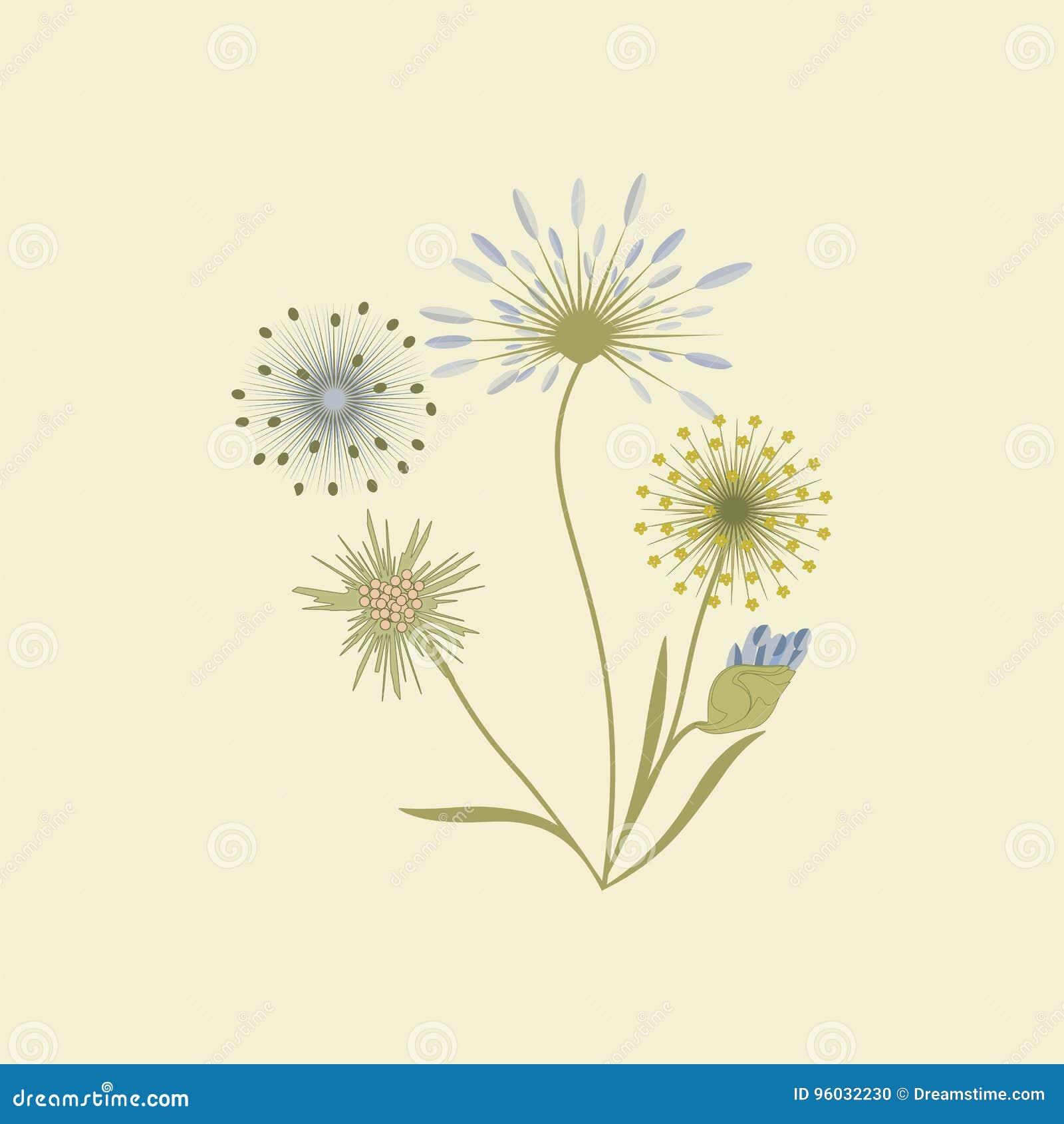 Wildflowers odizolowywający na lekkiej tło sztuki kreatywnie wektorowym elemencie dla projekta