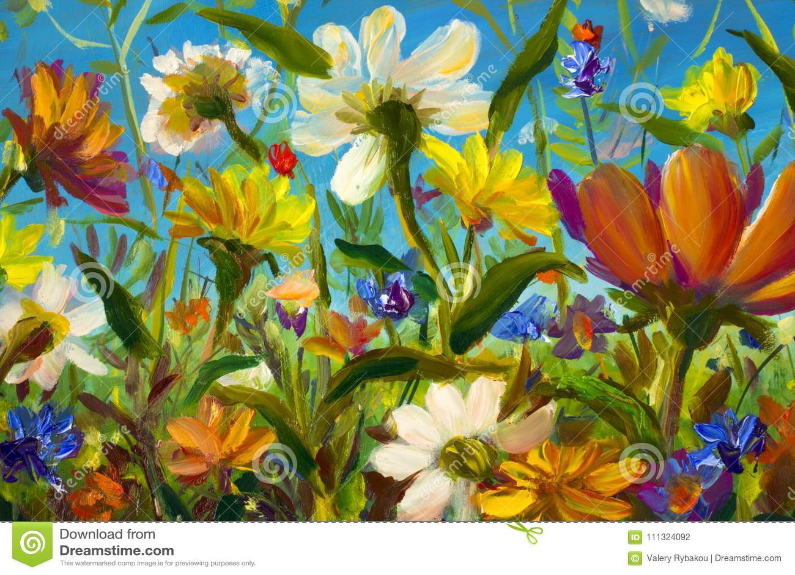 Red, yellow, blue, purple abstract flowers illustration. Macro impasto painting. Palette knife artwork. Impressionism. Art.