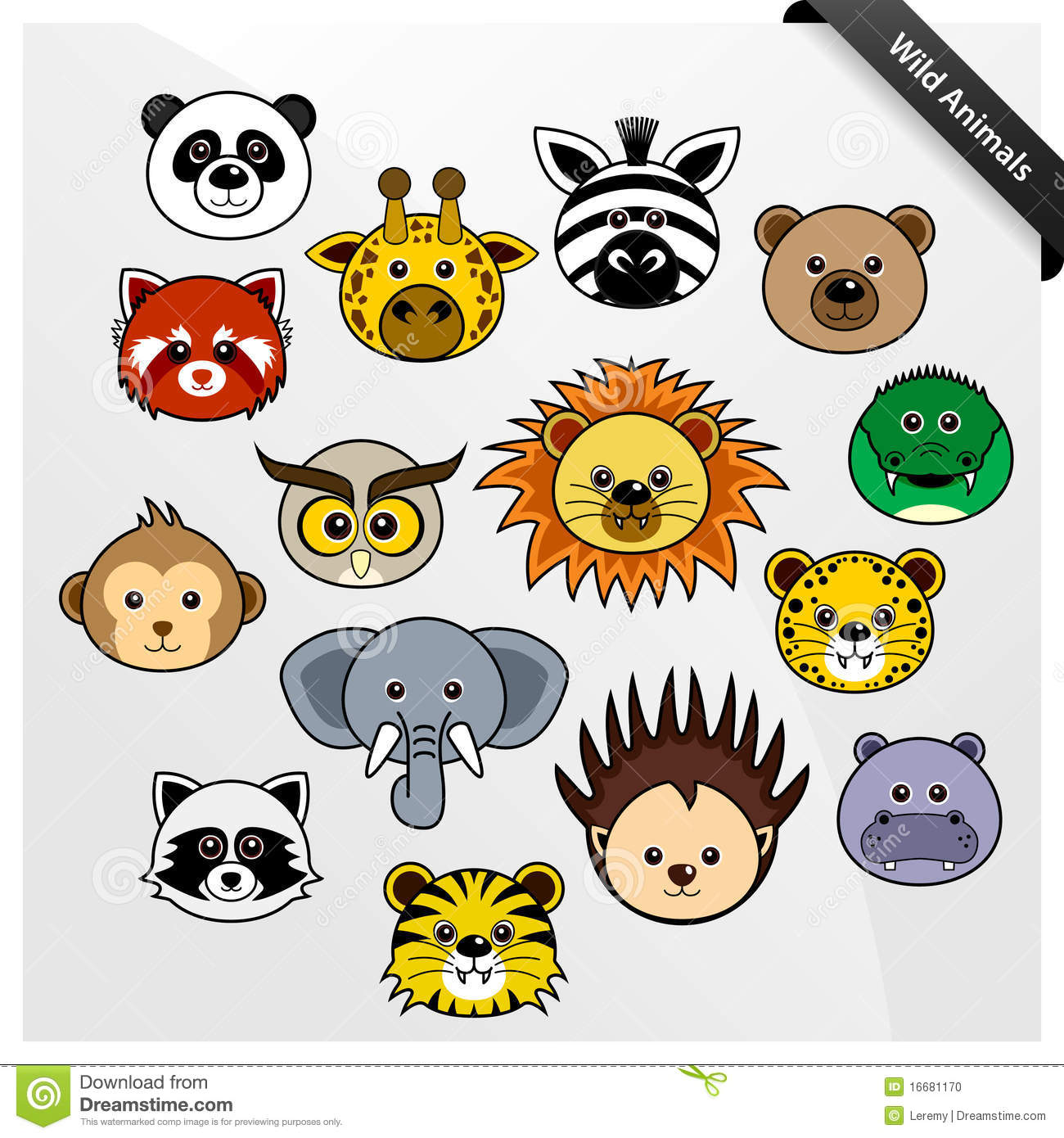 Wildlife Animal Cute Cartoon Stock Vector Illustration Of