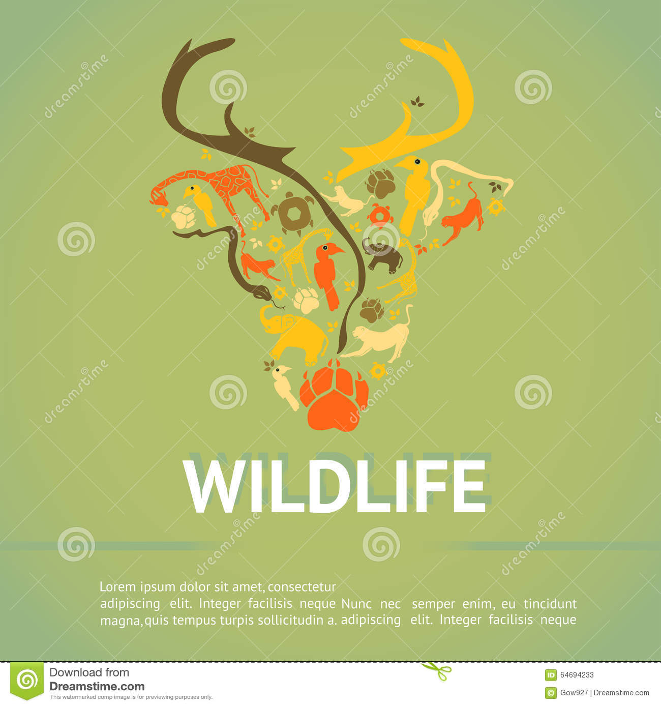 wildlife management plan template - wildlife animal infographic template layout badge