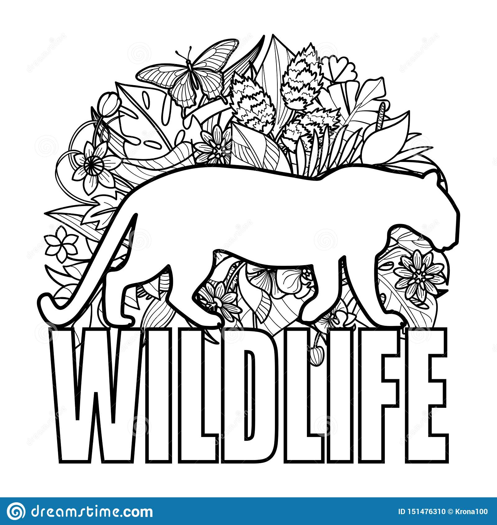 Wildlife Coloring Page With Leopard And Tropical Plants Stock Vector Illustration Of Page American 151476310