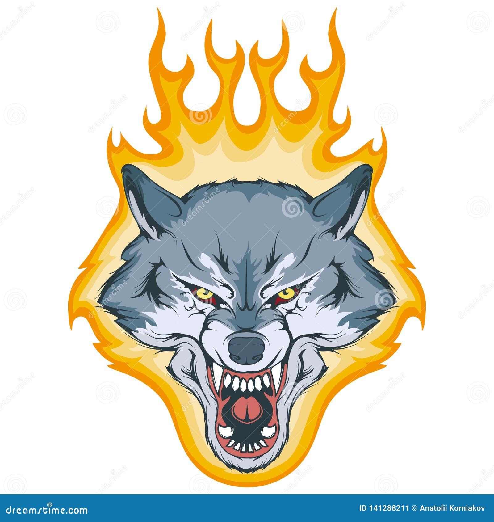 Wilk na ogieniu, wektorowa grafika
