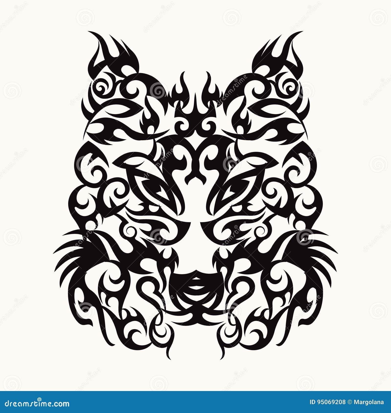 Wilk Sztuki Tatuażu Kierowniczy Projekt Plemienny Ilustracja