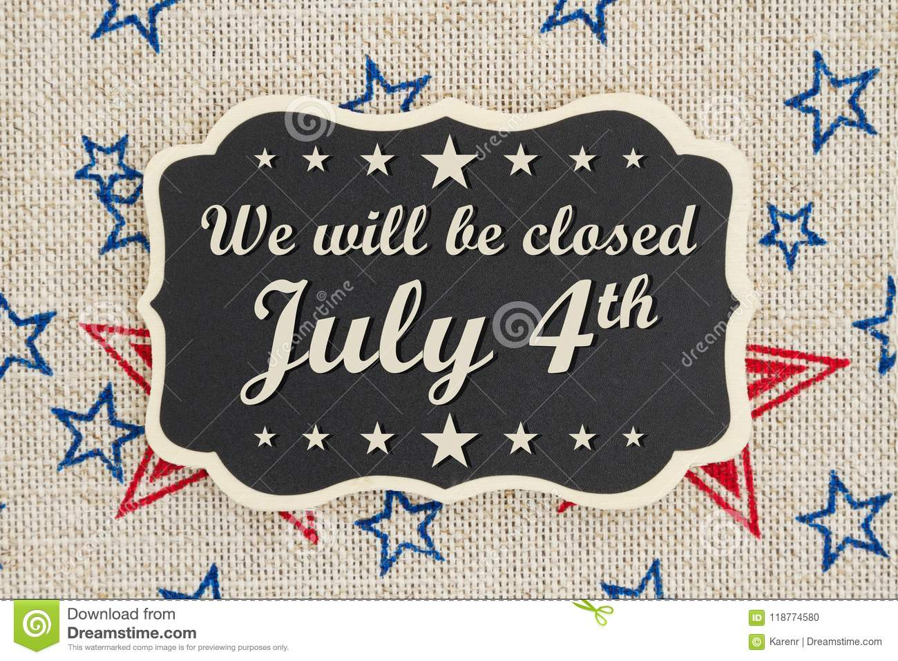 We Will Be Closed July 4th Independence Day Message Stock ...