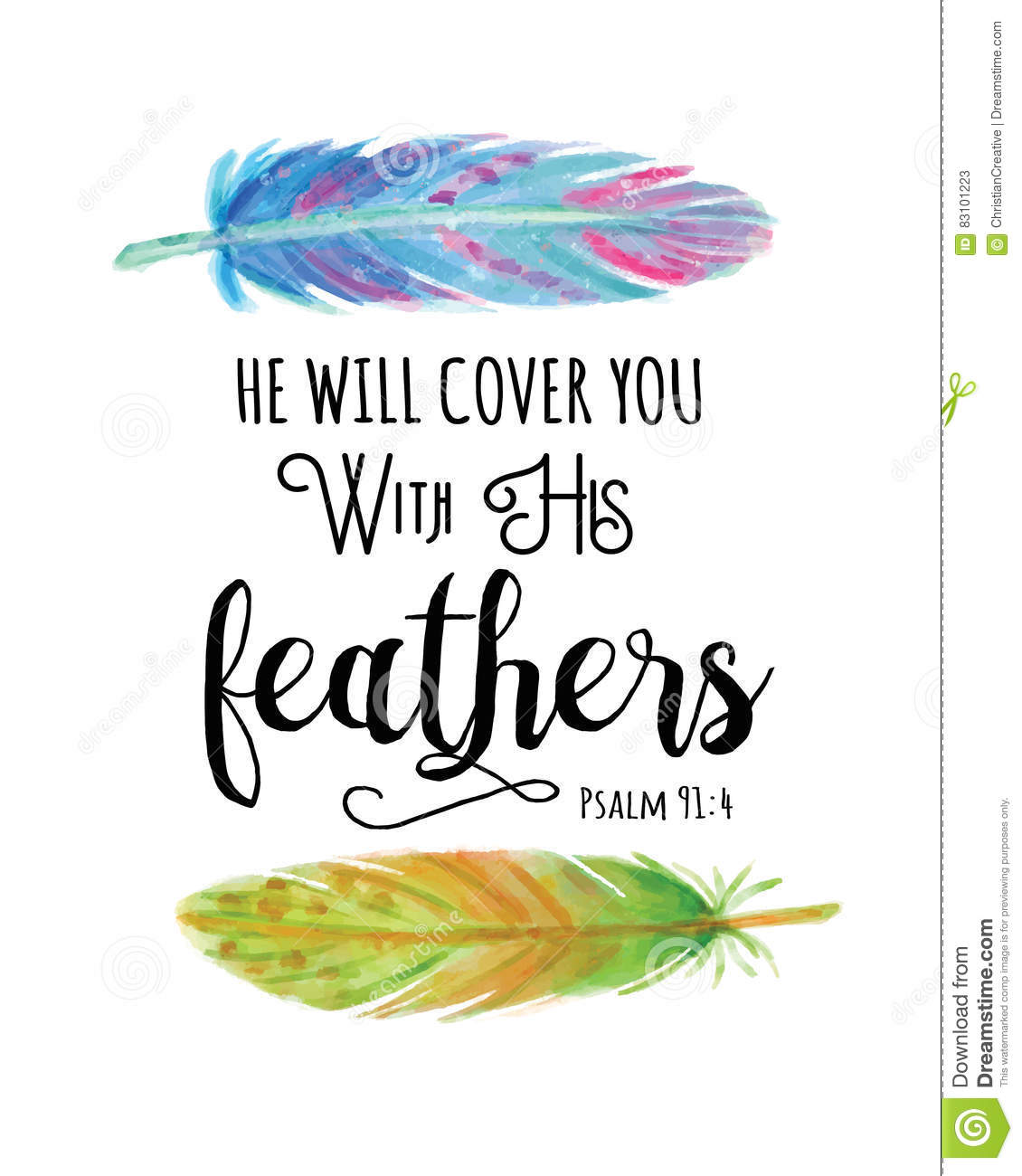 He Will Cover You With His Feathers Stock Illustration