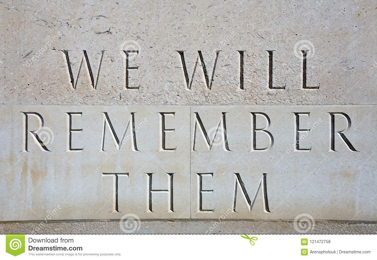 We Will Remember Them Inscription at the National Memorial Arboretum, Alrewas.