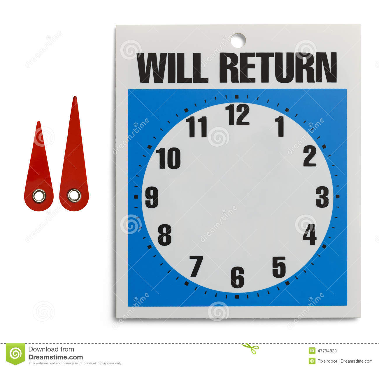 Will Return Sign will return clock stock photos, images, & pictures ...