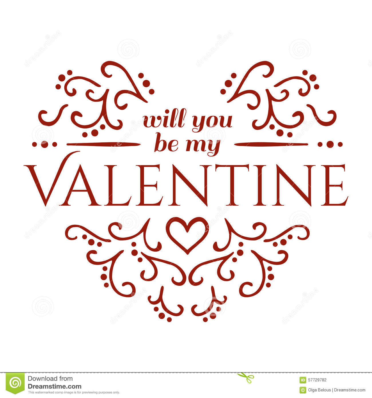 Will You Be My Valentine With Floral Ornament Stock Vector