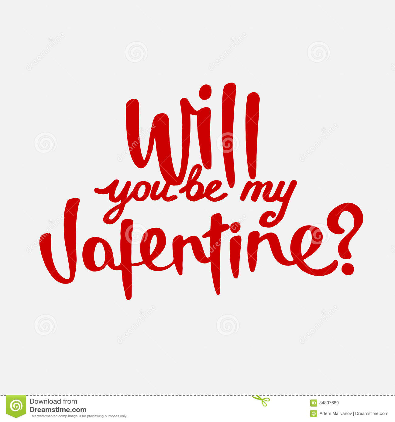 Will You Be My Valentine Hand Drawn Lettering Stock Vector