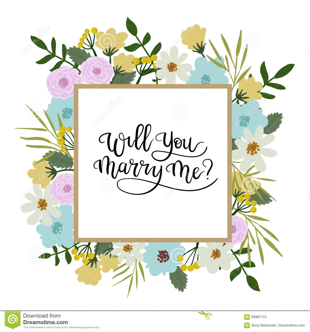 Will you marry me hand lettering greeting card floral