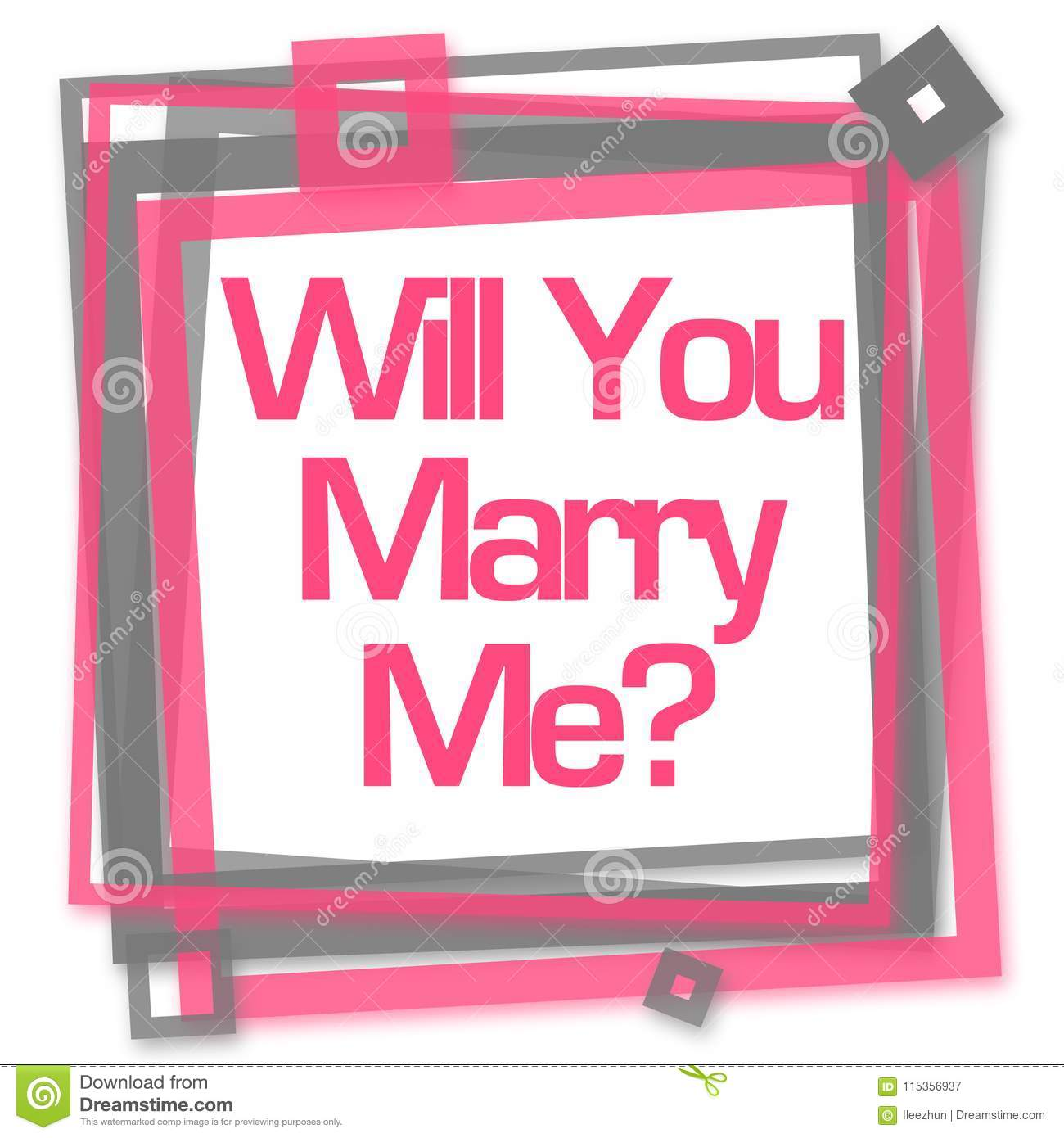 Will You Marry Me Pink Grey Frame Stock Illustration Illustration