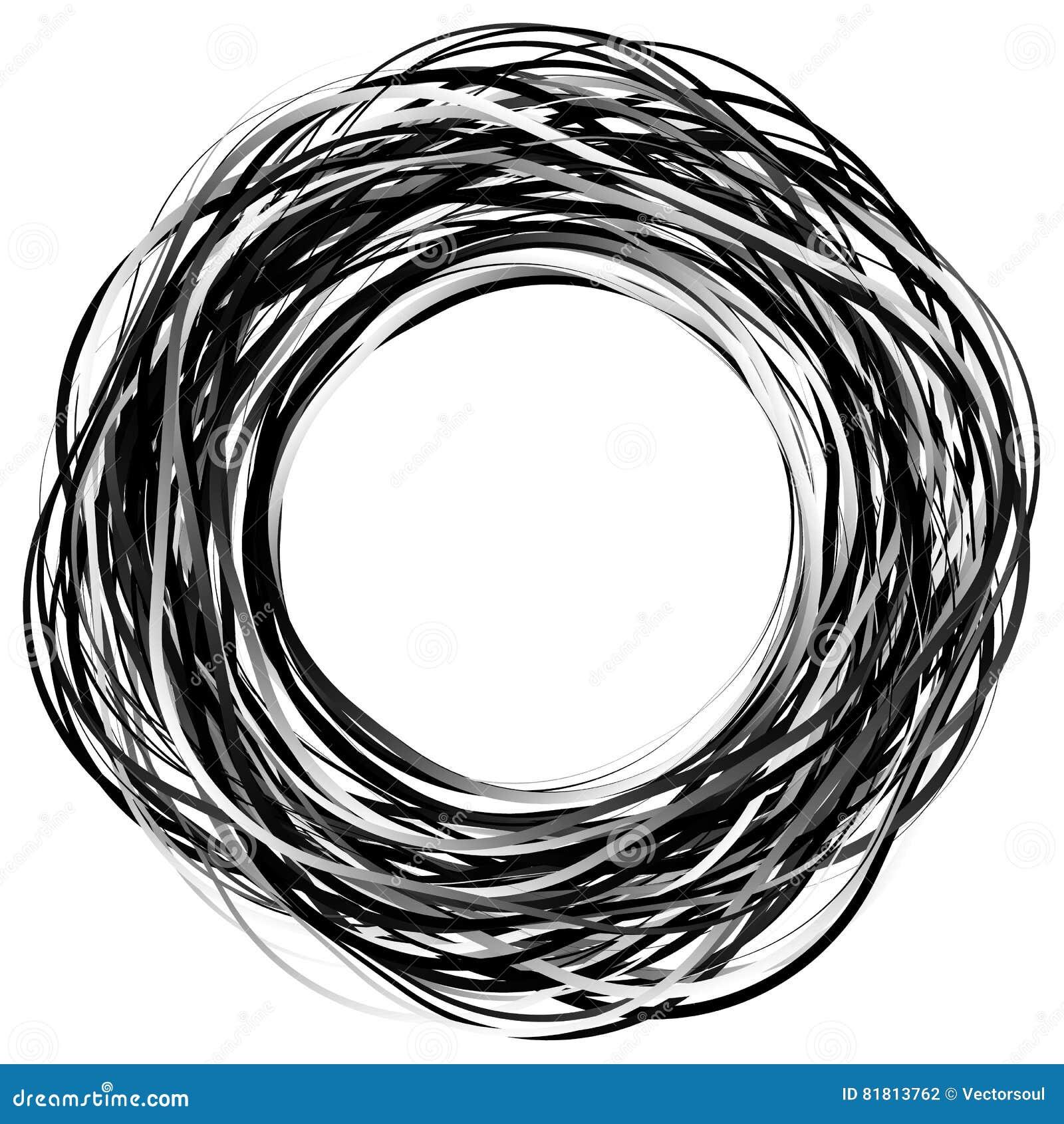 Willekeurige gekrabbelcirkels Concentrische cirkels in een hand getrokken styl