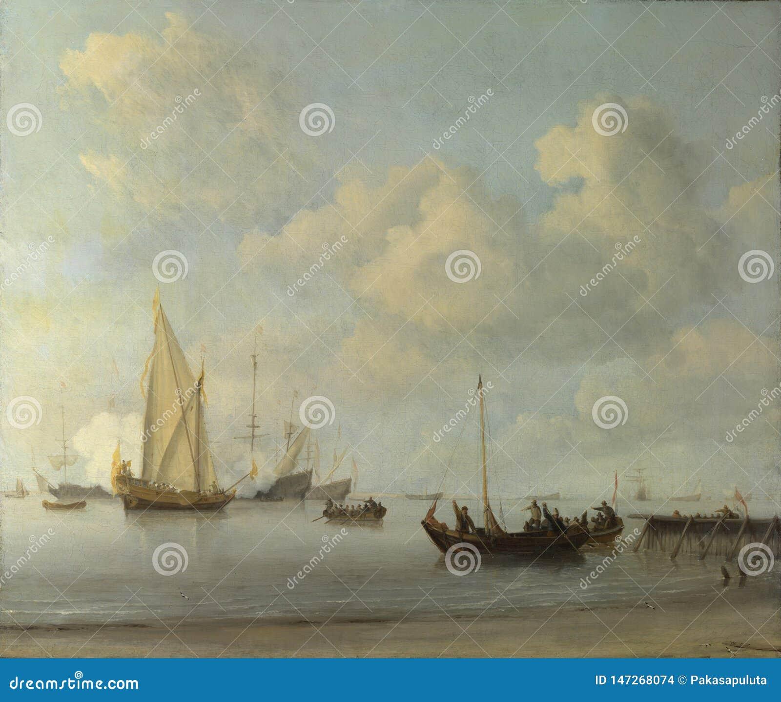 Willem van de Velde - Boote, die zu einer Yacht in einer Ruhe ausziehen