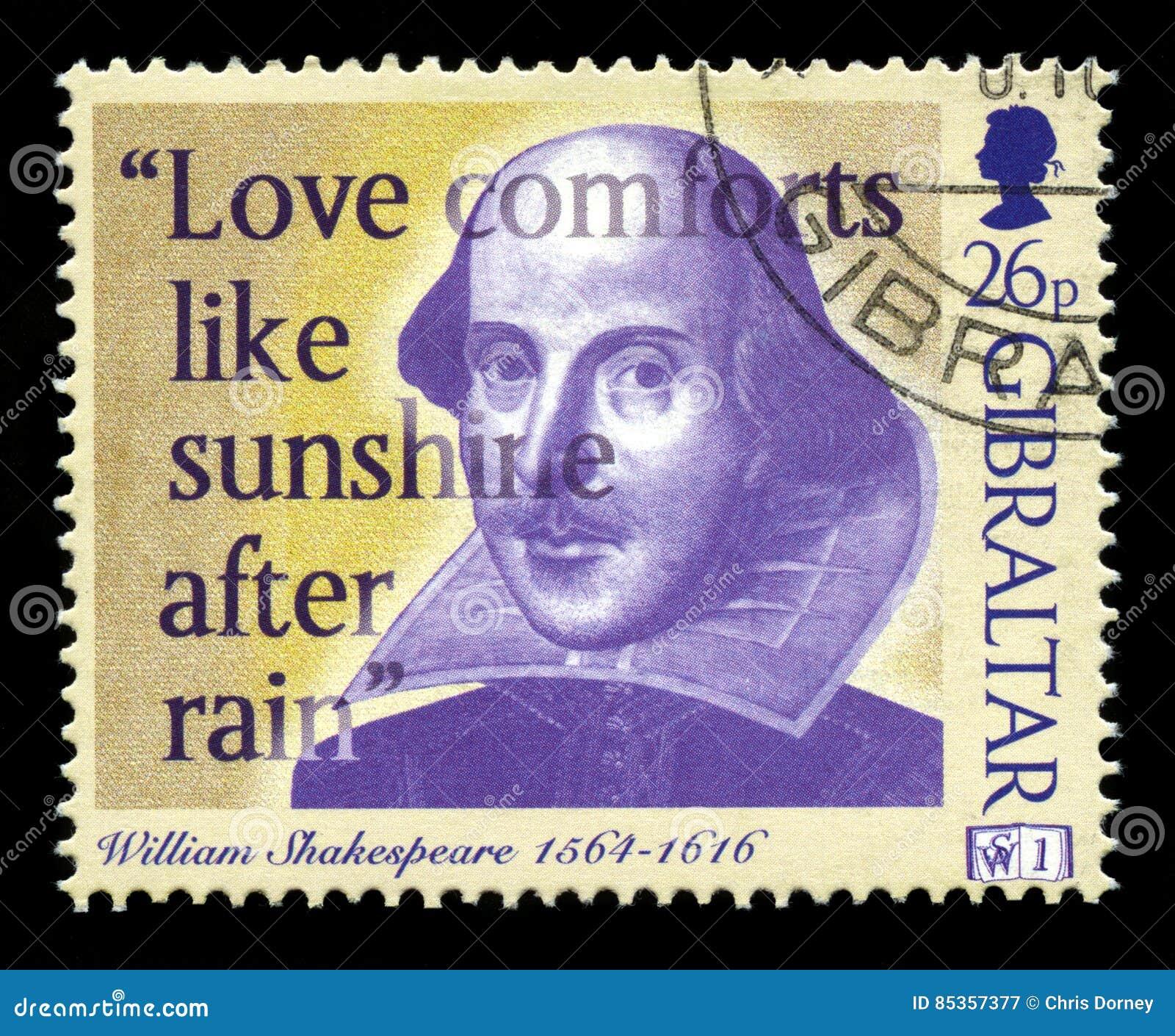 William Shakespeare Postage Stamp Redactionele Fotografie