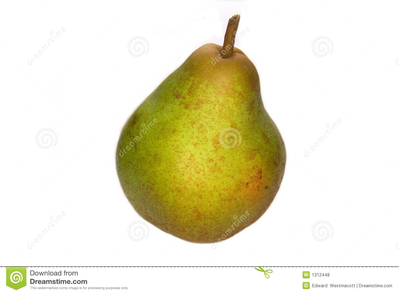 Closeup of ripe green Williams' Bon Chretien pear, isolated on white ...