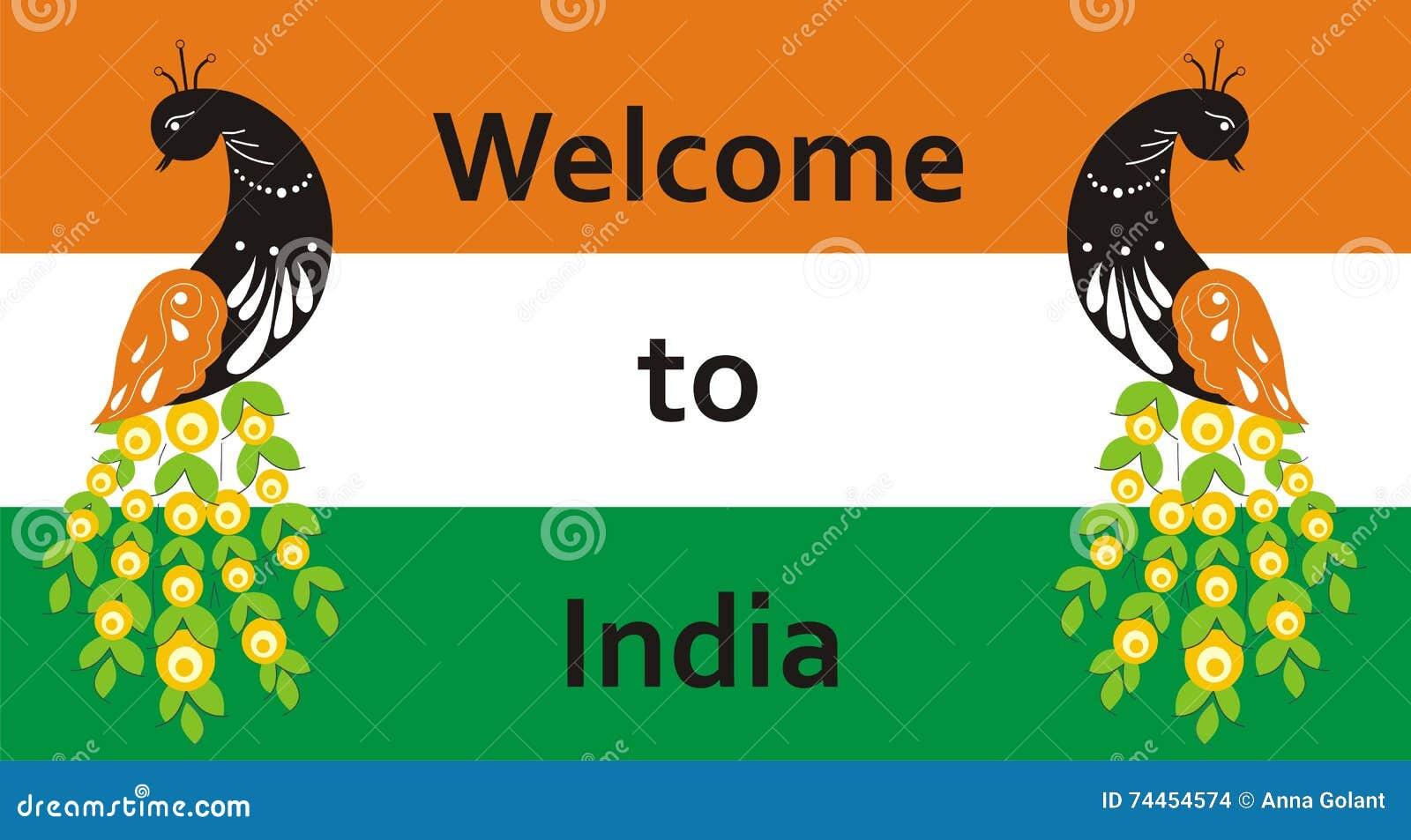 willkommen nach indien pfau auf dem hintergrund der flagge f r ihre zeichen zum hotel oder zu. Black Bedroom Furniture Sets. Home Design Ideas