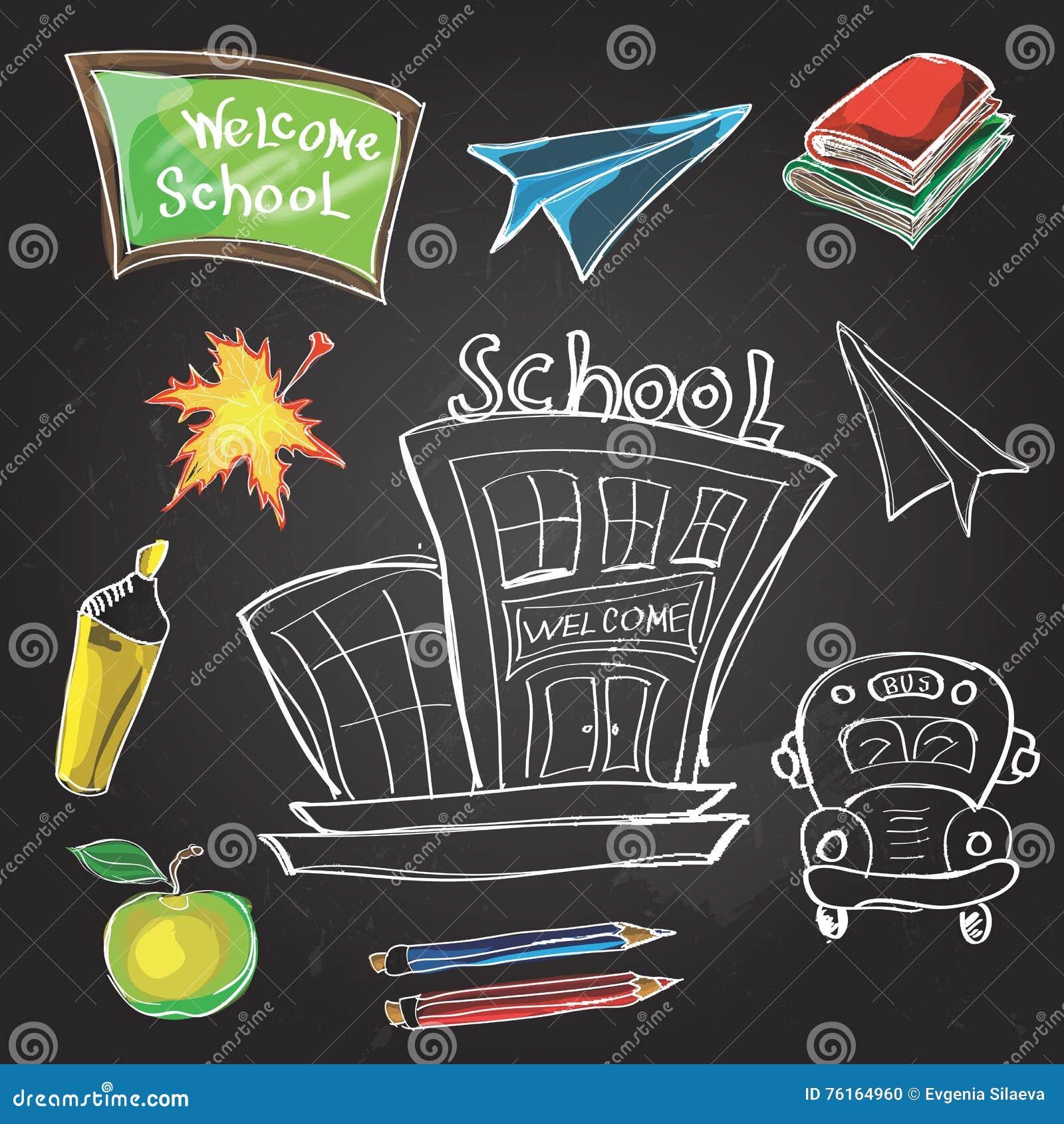Willkommen zurück zu Schulklassenzimmer liefert Notizbuch-Gekritzel