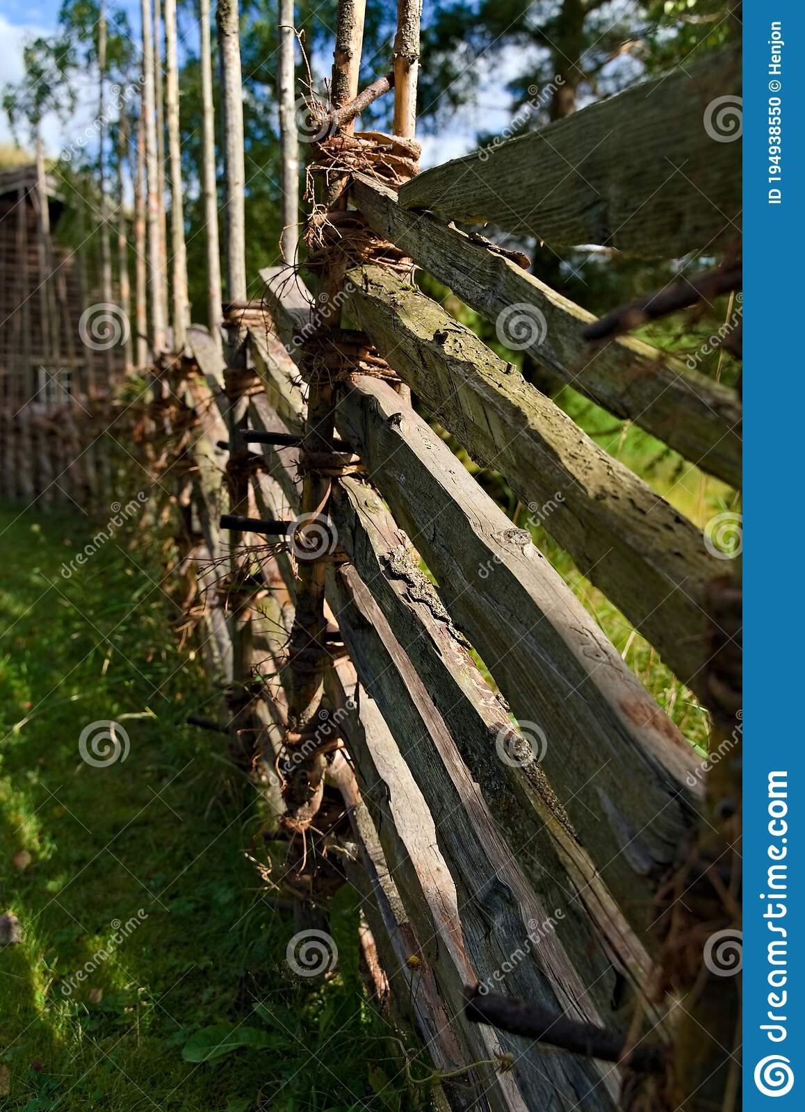 Willow Branch Fence With Wooden Poles Stock Photo Image Of Binding Nordic 194938550